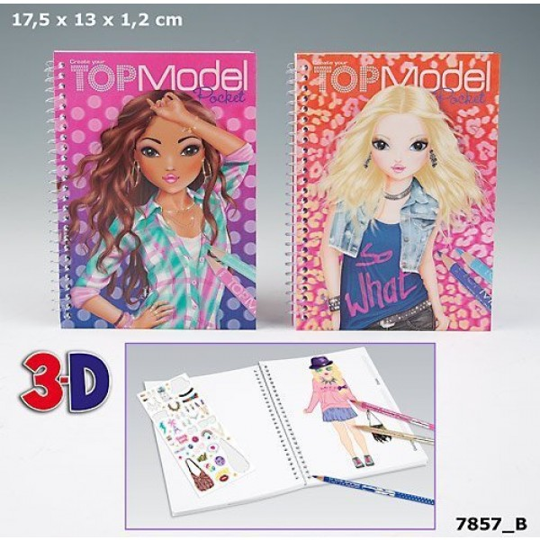 Top model Album de coloriage poche 3D